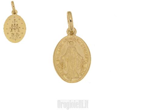 Ciondolo Medaglia Madonna Miracolosa di STELLA oro MILANO