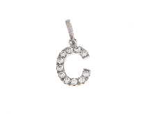 Gold Jewells: C letter with cubic zirconia white gold