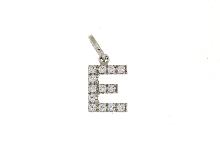 Joyas de oro: Letra E con circonio cúbico de oro blanco