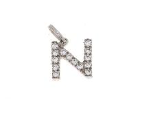 Letterina N con zirconi oro bianco