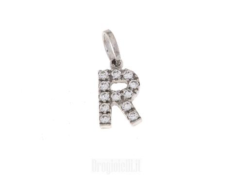Letterina R con zirconi oro bianco