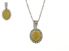 Madonna Dei Miracoli con zirconi in oro