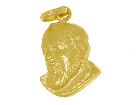 Medaglia Faccia di Padre Pio in oro giallo