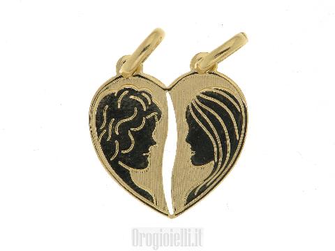 Medaglia San Valentino in oro PEZZI DI CUORE