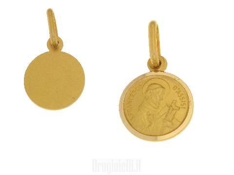 Medaglia in oro giallo San Francesco d'Assisi