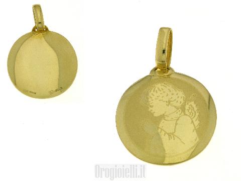 Medaglia angioletto per battesimi in oro
