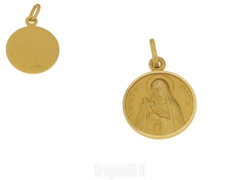 Medaglia di Santa Rita in oro giallo