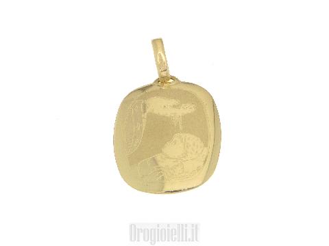 Medaglia per battesimo in oro giallo