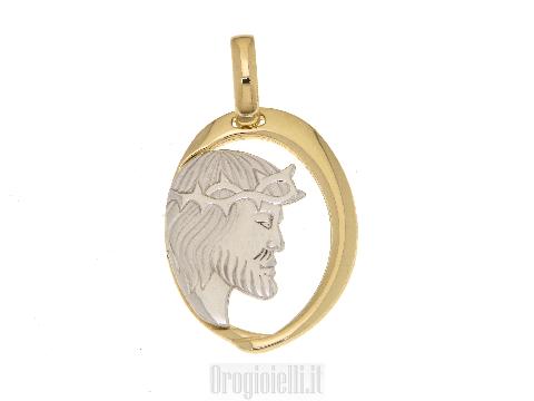Medaglia sacra con testa di Gesu' in oro