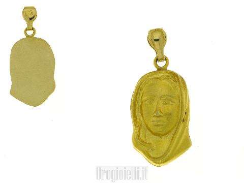 Medaglia volto madonna in oro giallo