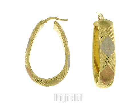 Orecchini donna oro a cerchio di forma ovale BLUORO