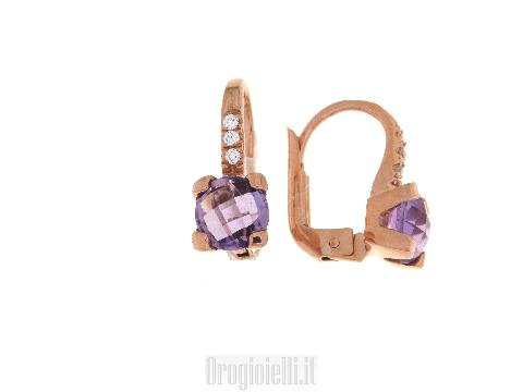 Orecchini ametista (viola) in oro 18kt