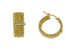 Orecchini cerchio argento dorato e zirconi