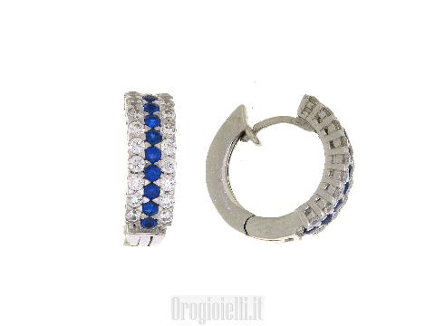 Orecchini cerchio con pietre blu in oro