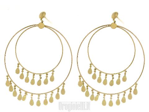 Orecchini cerchio particolari in oro 18