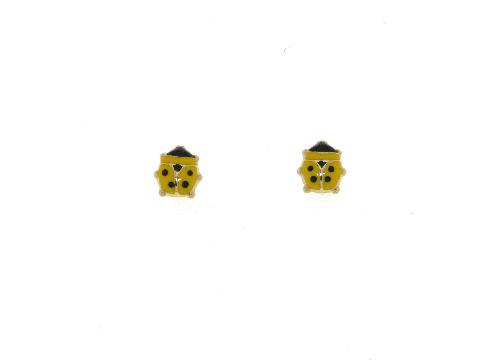 Orecchini coccinelle gialle in oro