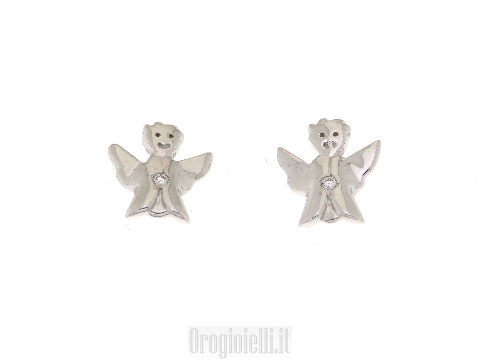 Orecchini con Angelo e diamante in oro