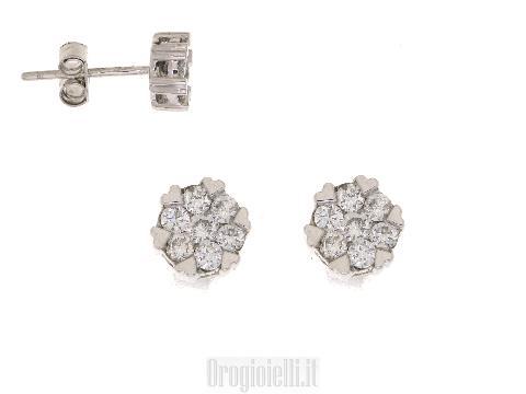 Gioielli stile contemporaneo - Orecchini con diamanti a forma rotanda in oro