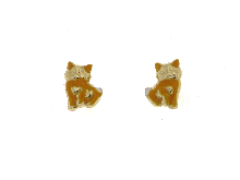 Gold Jewells: Earrings for communion with kittens