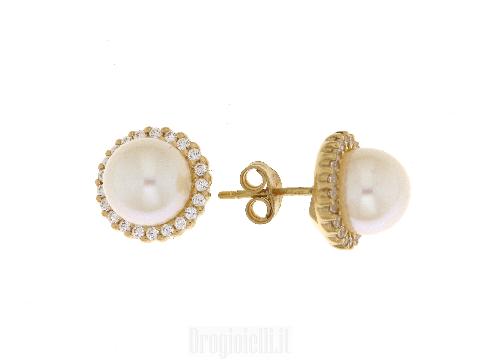 Orecchini con perla di fiume in oro
