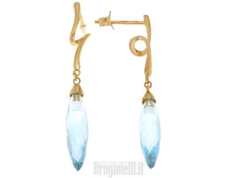 Orecchini con topazio azzurro pietra colorata in oro
