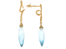 Gold Jewells: Earrings with colored stone in gold