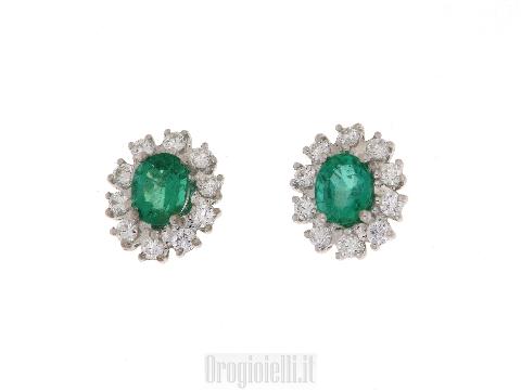 Orecchini con smeraldi e diamanti in oro