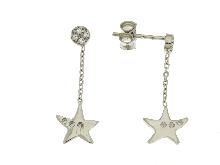 Orecchini con stella marina in zirconi ed oro