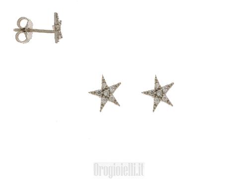 Orecchini Bambine a perno Orecchini con stelline in zirconi ed oro 18 kt