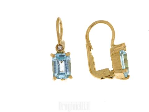 Orecchini con topazio azzurro in oro