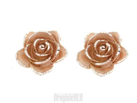 Orecchini in argento a forma di rosa