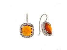 Gold Jewells: Silver earrings with yellow topaz