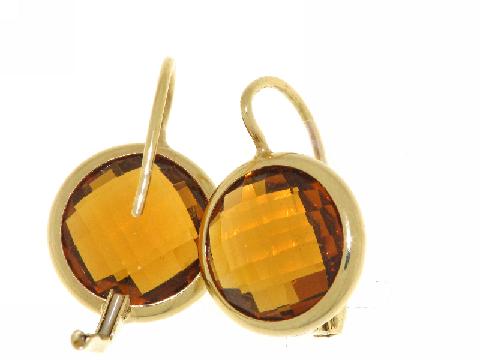 Orecchini monachella oro e citrino orange