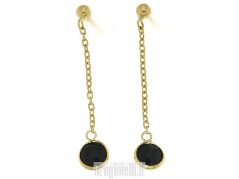 Orecchini pendenti  in oro ed onice