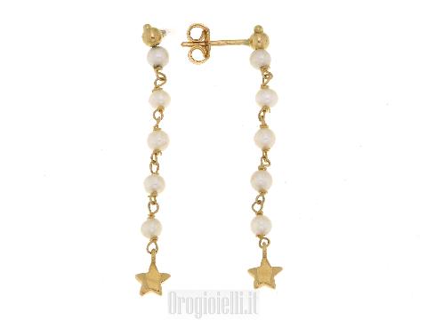 Orecchini pendenti con perline in oro