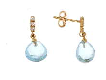 Gold Jewells: Earrings with colored stone