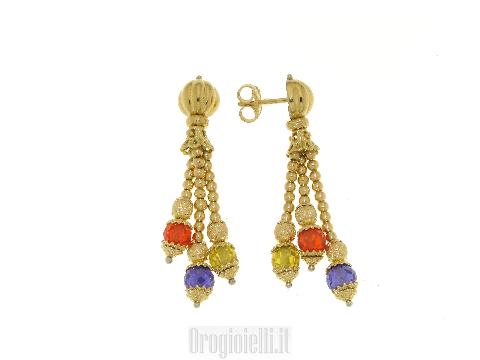 Orecchini pendenti con pietre in oro