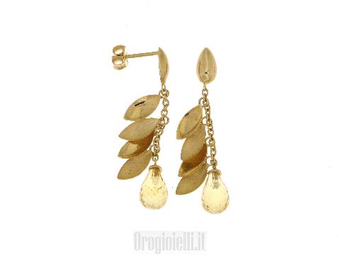 Alta Gioielleria Italiana - Orecchini pendenti con topazio giallo e oro