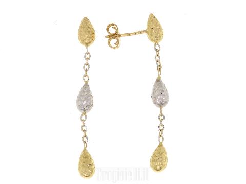 Orecchini pendenti in oro bicolore 18 ct