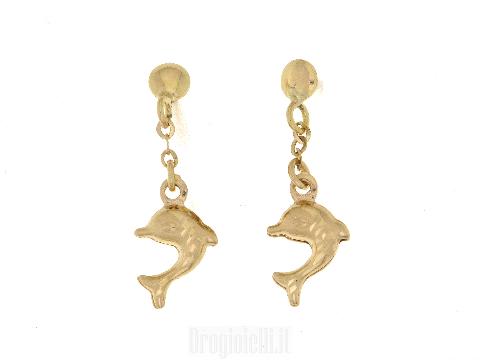 Orecchini pendenti per bimbe in oro con Delfino pendente