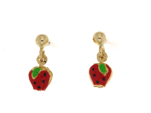 Gold Jewells: Enameled pendant earrings in 18ct gold