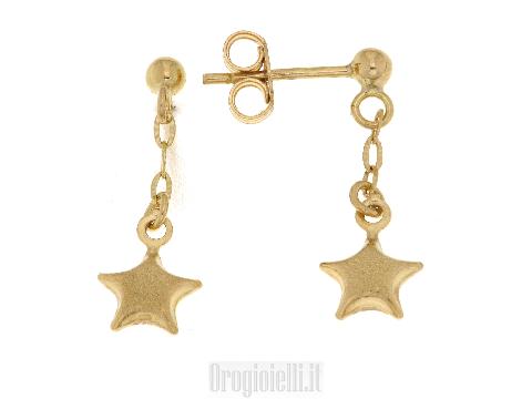 Orecchini pendenti con stella per bimbe in oro 18 kt