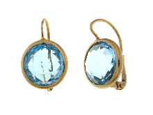 Gold Jewells: Earrings unique pieces in red gold with topaz