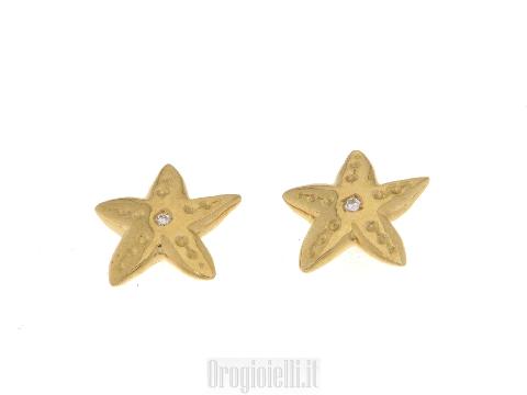 Orecchini stella marina e diamante