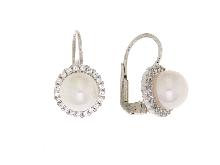 Orecchino di perla  zirconi in oro 18 kt