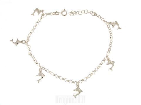 Cavigliera in argento 925 e delfini
