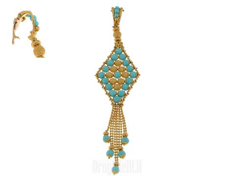 CIONDOLI SUN DAY: tappeto con turchese oro 18 kt