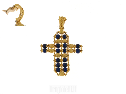 Croce SUN DAY con Lapislazzuli in oro giallo 18 ct