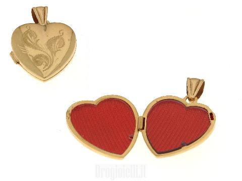 Portafoto a forma di cuore in oro