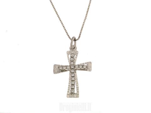 Catenina con croce diamantata e zirconi in oro
